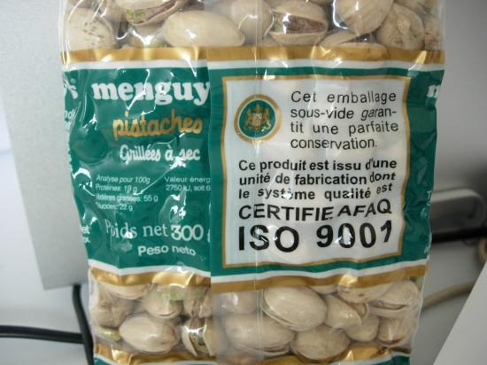 Ce n'est pas un montage : même les pistaches sont ISO 9001 !