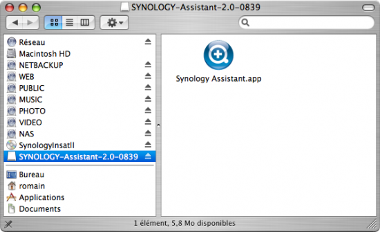 La version mac de l'assistant d'installation Synology