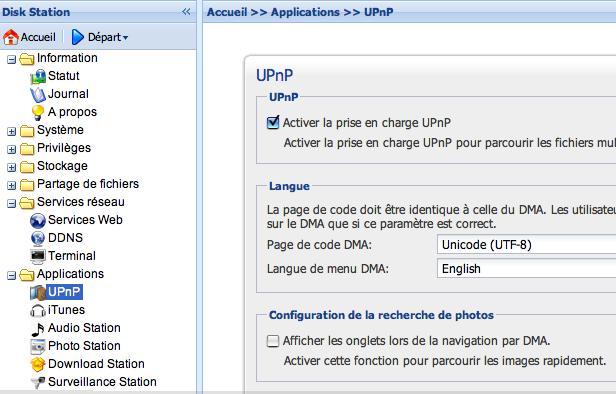 """Il faut décocher l'option """"Afficher les onglet lors de la lecture par DMA."""" pour bénéficier de la meilleure qualité d'image en UPnP."""