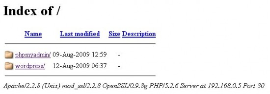Après modification, Apache nous donne la liste du contenu des répertoires !
