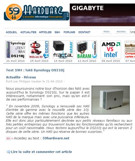 Test du DS210j sur 59harware.net